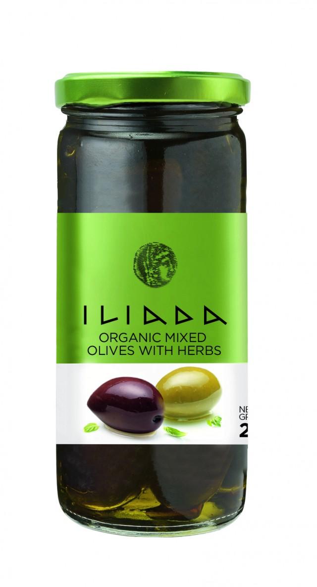 Masline mix (verzi & kalamon) intregi cu ierburi aromatice ECO